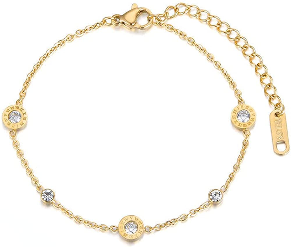 316L Stainless Steel Roman Numerals CZ Crystal Chain & Link Bracelets Jewelry For Women Girls BB18019