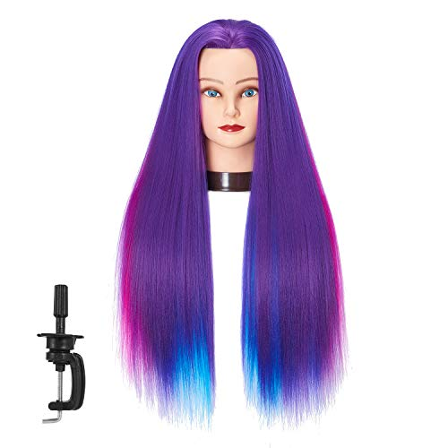 66 cm-28 Mannequin Kopf Hair Styling Training Head Schraubenmännchen Kosmetologie Puppe Kopf Kunstfaser Haar Friseur Training Modell mit inklusive Klemme (Purple Colorful)