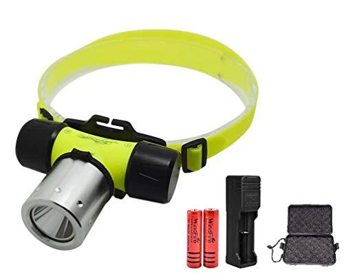 Windfire Linterna sumergible – Lámpara frontal profesional para inmersiones subacuáticas – Super luminosa 2000 lúmenes LED, hasta 150 m bajo el agua [Clase de eficiencia energética A] ⭐