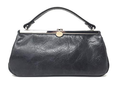 Kosmetiktasche aus Leder Schminktasche Utensilo Abendtasche Clutch Ausgehtasche Handtasche Make up Tasche schwarz