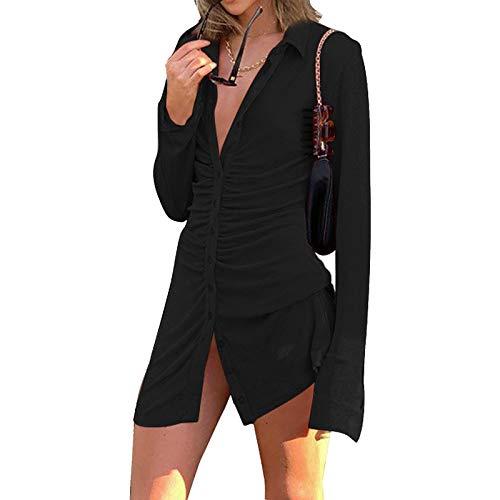Vestido Ajustado Otoño Mujer Vestido Casual de Manga Larga Cuello Solapa con Botones Vestido Sexy de Color Sólido de Mujer para Fiesta Cita Viaje (Negro, M)