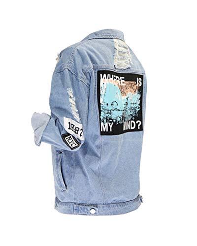 Kinsmirat Damen Jeansjacke mit Patches Knopfverschluss Cut-Outs Blau Denim Jacket Blouson (EU 42 / L)