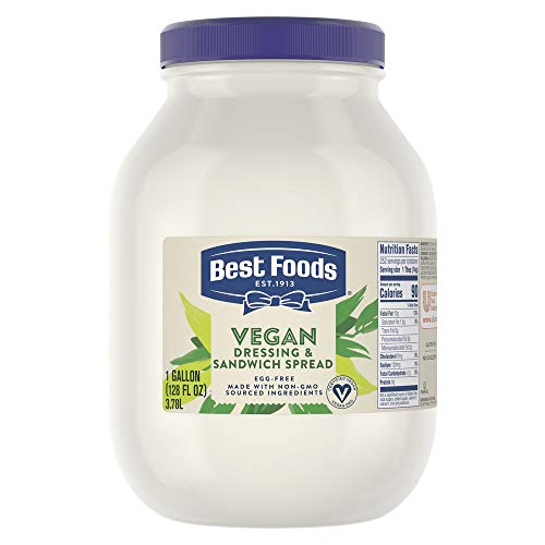 Best Foods Vegan Mayonnaise Jar Made with Non GMO Sourced Ingredients, No Artificial Flavors or Colors, No Cholesterol, Gluten Free, 1 gallon, Pack of 4