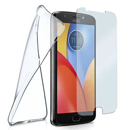 moex Silikon-Hülle für Motorola Moto E 4 Plus | + Panzerglas Set [360 Grad] Glas Schutz-Folie mit Back-Cover Transparent Handy-Hülle Motorola MotoE4 Plus Hülle Slim Schutzhülle Panzerfolie