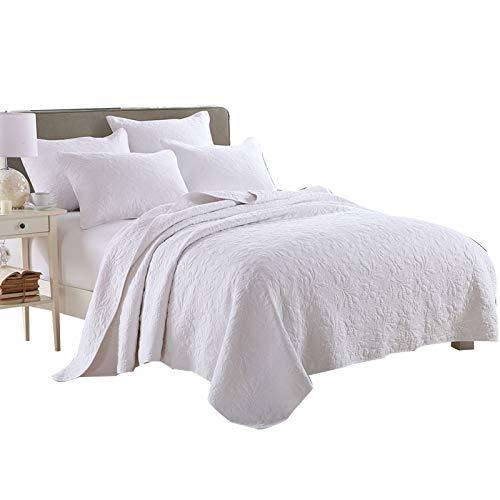 Qucover Weiße Tagesdecke aus Baumwolle Gesteppte Sommerdecke mit Kissen Set Bettüberwurf Doppelbett 230x250cm mit Stickerei Muster