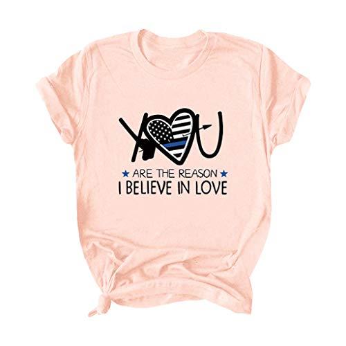 serliy😛Sweatshirt Damen Lang Valentinstag Frauen Lieben Herz Leopard Rundhals Langarm T-Shirt Tops Sweatshirt Pullover Oberteil Langarmshirt Langarm Hemdbluse Hemd