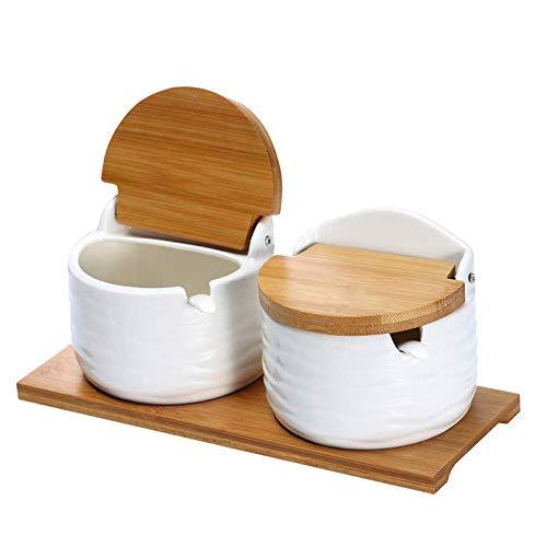 N /A YYHEN Keramik Zuckerdose mit Deckel und Löffel-Porzellan Gewürzbehälter Gewürzdose, Salzkeller für die Küche