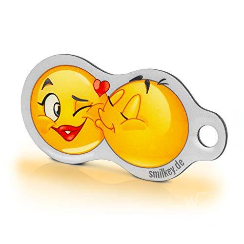 Einkaufswagenlöser Code24 Smilkey KISS, Schlüsselanhänger mit Einkaufschip & Schlüsselfinder, inkl. Registriercode für Schlüsselfundservice, Einkaufswagenchip mit Profiltiefenmesser, Key-Finder