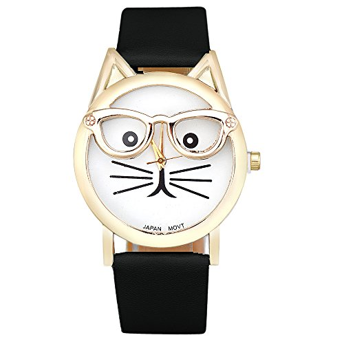 COOKI Womens Quartz Watch Cat Analog Female Watches Lady Watches Leather Watch-H82 (Black)
