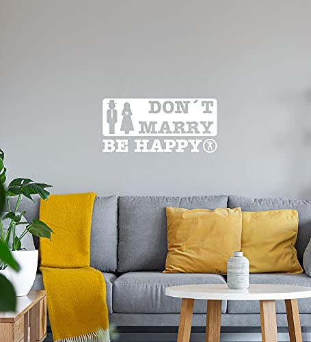 don´t marry be happy muursticker wit sticker 70 x 33 cm