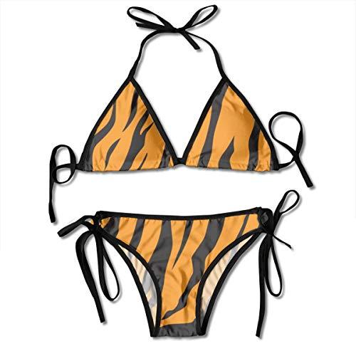 Funny Z Damen Bikini Set mit Verband Streifen Tiere Dschungel Tiger Pelz Textur Muster Halfter Badeanzüge Zweiteiliger Badeanzug