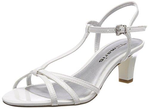 Tamaris Damen 28329 T-Spangen Sandalen, Weiß (White Patent), 40 EU