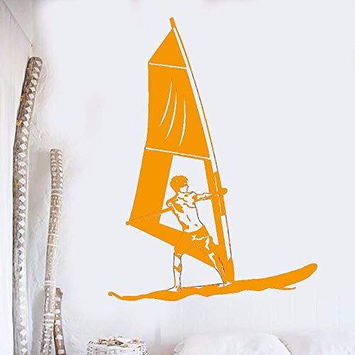 Zykang Apliques de pared de vinilo Windsurf Deportes acuáticos Pegatinas de pared Murales de navegación Windsurf Window Stickers Sea Sports Poster 42X57Cm-42X57Cm_4