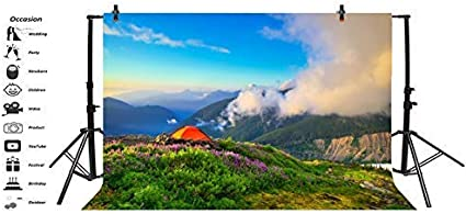 Baocicco 10x7ft Vinyl Spring Landscape Backdrop Outdoor Photography Background Mountains Camping Travel Blooming Flower Spring Holiday Party Backdrop Children Baby Adults Portraits Photo Studio