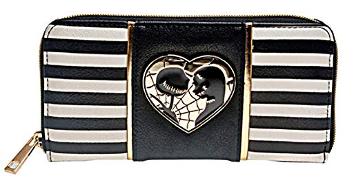 Nightmare Before Christmas Jack & Sally Metal Badge Zip Around Hand Purse Clutch Wallet