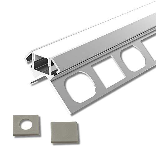 ARES (AR) Fliesen Eck Aluminium 2m eloxiert | Fliesen-Außeneckleiste für Led Streifen bis 1cm Breite | U-Profil Fliesenschiene + Acryl Abdeckung milchig weiß (opal) + Endkappen |Aluprofil belastbar