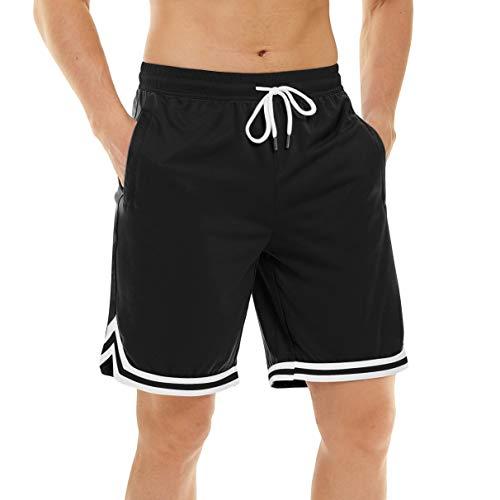 TACVASEN Men's Elastic Waist Basketball Shorts Drawstring Breathable Mesh Shorts Black, 38