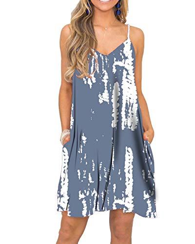 BEUFRI Summer Sleeveless Sundresses for Women Casual Beach Spaghetti Strap Flowy Dress M Tie Dye Grey