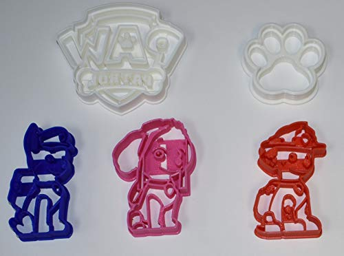 PAW PATROL LOGO DOGS CHASE MARSHALL SKYE HEROIC RESCUE PUPS KIDS CARTOON SET OF 5 SPECIAL OCCASION COOKIE CUTTERS BAKING TOOL MADE IN USA PR1049
