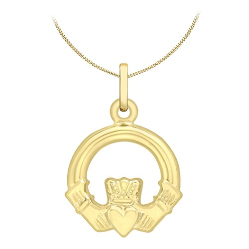 Carissima Gold Damen-Kette mit Anhänger 9ct Claddagh Charm Pendant on Curb Chain 375 Gelbgold 46 cm - 1.45.5164