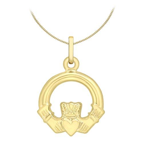 Carissima Gold Damen-Kette mit Anhänger 9ct Claddagh Charm Pendant on Curb Chain 375 Gelbgold 46 cm - 1.45.5164