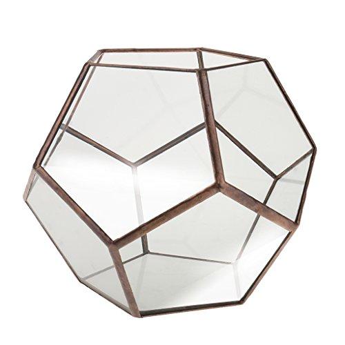MagiDeal geometrisches Glas-Terrarium, Übertopf, Blumentopf, kupfer, 15 x 15 x 15cm