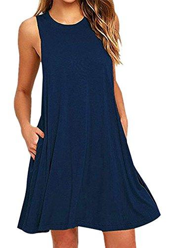 YMING Frauen T-Shirt Kleid Casual Weste Kleid mit Tasche Minikleid, XXL, Taschen-navy Blau