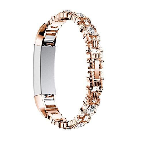 L@LILI Correa de Metal Fitbit Alta HR Woman Correas de Repuesto Correas de Reloj Correa de Metal para Fitbit Alta/Fitbit Alta HR, Plateado,Metallic