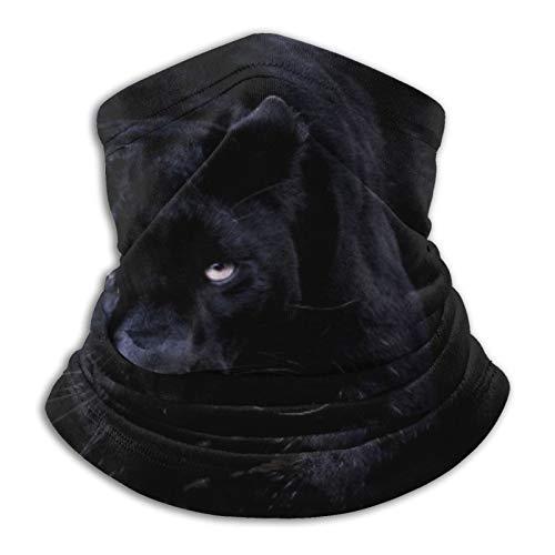 Custom made Pantera negra con ojos azules, unisex, multifuncional, a prueba de polvo, de microfibra, pasamontañas, calentador de cuello, bufanda para deportes al aire libre y clima frío