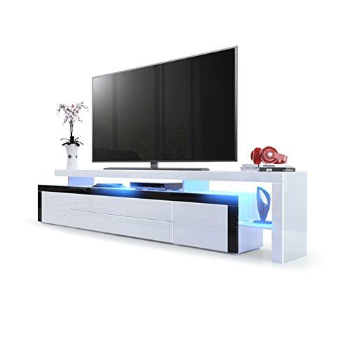 Vladon TV Board Lowboard Leon V3, Korpus und Überbau in Weiß Hochglanz/Front in Weiß Hochglanz mit Rahmen in Schwarz Hochglanz inkl. LED Beleuchtung