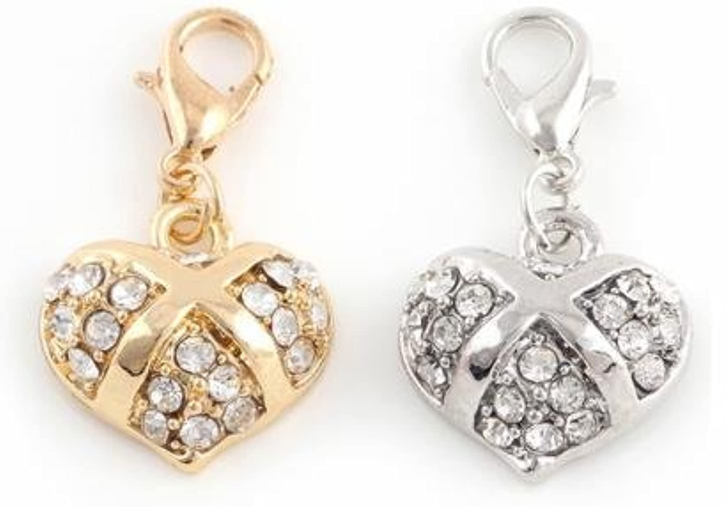 Beautiful Gold & Silver Heart Charms with Rhinestones Bling Design Embellish Your Purse, Also for DIY Arts & Craft Charm, Pendant, Backpack, Keychain, KandyCharmz 245