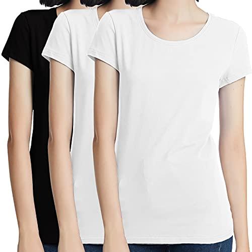 KELOYI Camiseta Mujer Manga Corta Verano Blanca y Negras de Algodón Cuello Redondo, Pack de 3 - L
