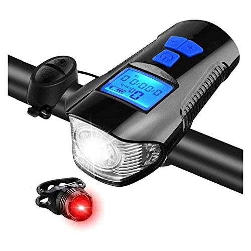 XTZJ Luces de bicicleta LED USB Frente y trasero recargables de la bicicleta Luces de la cola, velocímetro de bicicleta, luces frontales impermeables del odómetro, adecuadas para todas las bicicletas