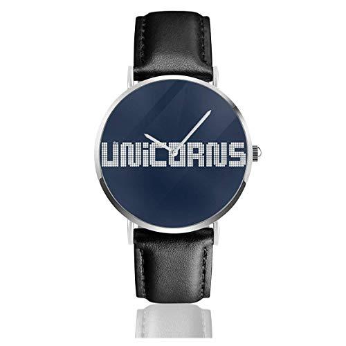 Unisex Business Casual Unicrons Glühbirne Logo Uhren Quarz Lederuhr