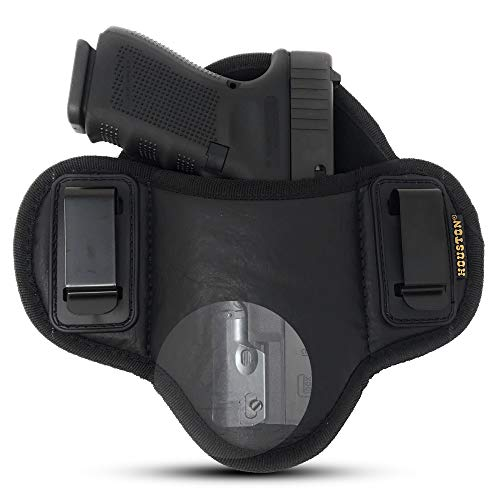 Tactical Pancake Gun Holster Houston - ECO Leather Concealed Carry | Suede Interior for Protection | IWB | Right Hand | Fit: Glock 19 17 20 21 22 23 | Beretta 92 FS, PX4, XDM, HK USP, MP with Laser