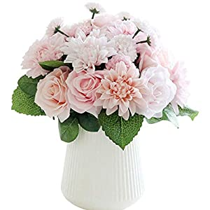 Silk Flower Arrangements Bringsine Bridal Wedding Bouquet Flower Arrangement Home Decorative Artificial Silk- Rose, Daisy, Dahlia, Decoration, Bunch Hotel Party Garden Floral -Pink