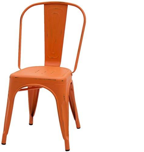 ArredinItaly – Juego de 2 sillas industriales Tolix – Réplica de Metal Naranja Envejecido
