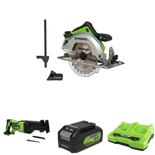 Greenworks Tools 1500907 Sierra Circular, 24 V + Batería sierra de sable GD24RS, 24V Li-Ion control de velocidad + Batería G24B4 2ª generación + Batería de doble ranura Cargador universal G24X2C