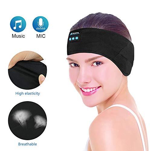 E-More - Diadema inalámbrica bluetooth con auriculares, lavable, ajustable, con absorción del sudor, micrófono, altavoces integrados para dormir, deporte, música, correr, yoga, llamadas