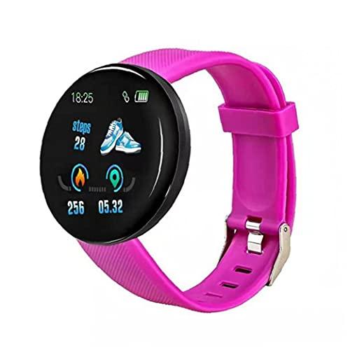 Inteligente Venda de Reloj del Reloj de la Aptitud del perseguidor Impermeable Reloj Elegante Reloj Inteligente D18 Ronda Inteligente Medida de frecuencia cardíaca Hombres Mujeres Niños púrpura