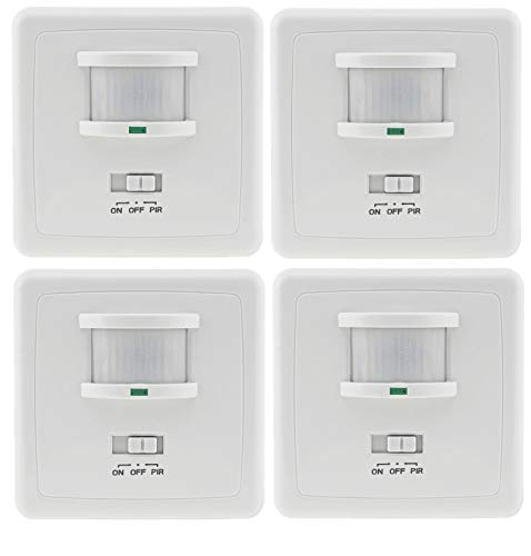 Unterputz Bewegungsmelder 160/° 9m Reichweite LED geeignet 3-Draht Infrarot UP Einbau 4 St/ück Wei/ß