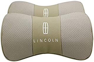 Wall Stickz Car Sales 2 PCS Genuine Leather Bone-Shaped Car Seat Pillow Beige Neck Rest Headrest Comfortable Cushion Pad with Logo Pattern Fit Lincoln Accessories