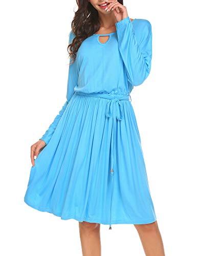 Parabler Damen Plisseekleid Partykleider Casual Freizeitkleid A-Linie Faltenkleid Kleider Kurzarm Knielang Blau S