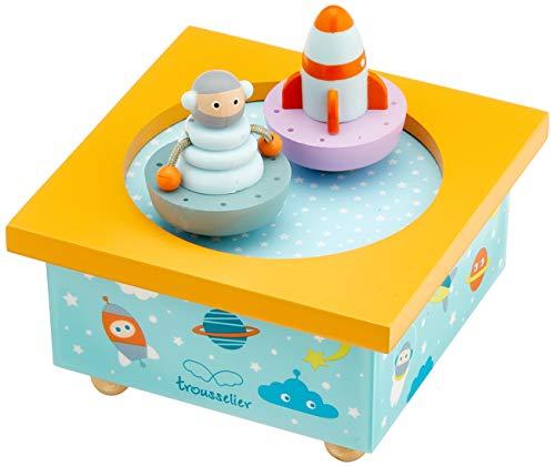 Trousselier - Roboter & Raumschiff - Tanzende Musikbox - Spieluhr - Ideales Geburtsgeschenk - 2 abnehmbare Figuren - Einfache Bedienung - Musik Moon River Musik - Farbe blau