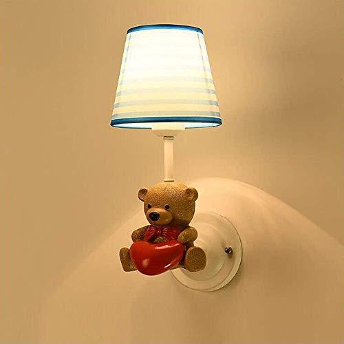 Victoria Resin Cartoon Animal Lámpara de pared con pantalla de tela LED Lámpara de pared para niños, dormitorio, salón, comedor, guardería, lámpara de pared antigua