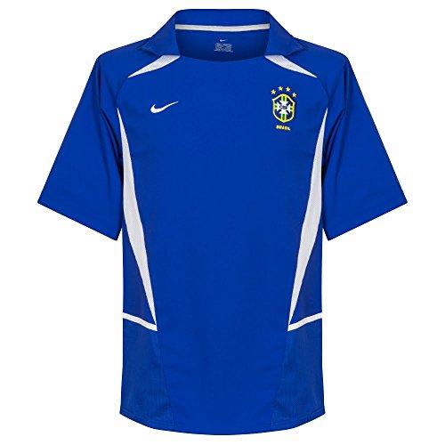 Nike 02-03 Brazil Away - Camiseta de Manga Corta (4 Estrellas), Large, Azul
