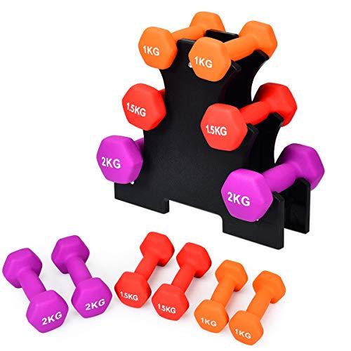 RELAX4LIFE Hanteln 6er Set, Kurzhanteln mit Hantelständer, Gymnastikhanteln aus Neopren, Neopren 3 Paare 1/1,5/2kg, rutschfest Fitness Hantelset für Muskeltraining, Zuhause & Fitnessstudio, Hexagon