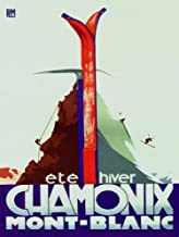 CHAMONIX MONT-BLANC SUMMER WINTER SPORTS MOUNTAIN CLIMBING SKI DOWNHILL SKIING TRAVEL FRANCE LARGE VINTAGE POSTER REPRO