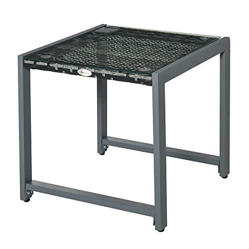 Outsunny Gartentisch Garten Beistelltisch Tisch Gartenmöbel mit Hartglas Polyrattan + Aluminium Grau 50 x 49,5 x 50 cm