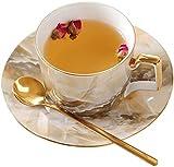 Tazas para bebidas Taza y platillo de café veteado de 250 ml de lujo de porcelana china Té de la tarde en inglés Té negro Taza de té con flores Juego de té Taza de café de cerámica creativa personali